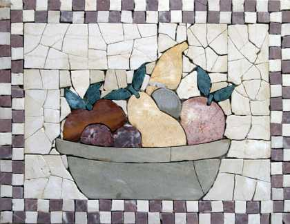 Large Tile Fruit Bowl Still Life Backsplash Mosaic