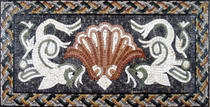 GEO511 Beautiful white dolphins and sea shell Mosaic