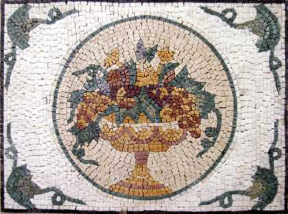 Fruit Bowl Circle in Rectangle Backsplash Mosaic
