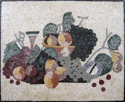 Fruits & Grapes Still Life Kitchen Backsplash Mosaic