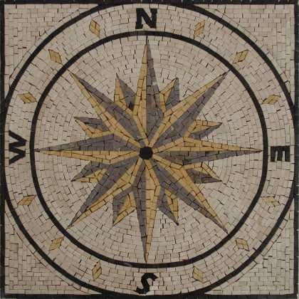 Compass motif square wall floor home decor Mosaic