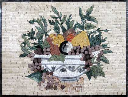Fruits & Leaves Bowl Kitchen Backsplash Mosaic