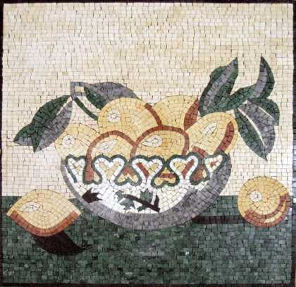 Lemon Bowl Still Life Kitchen Backsplash Mosaic