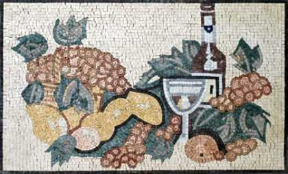 Fruits & Wine Still Life Kitchen Backsplash Mosaic