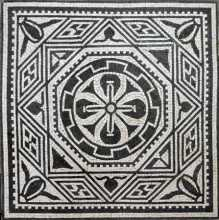 Black & White Square Rhombus Circle Cross  Mosaic
