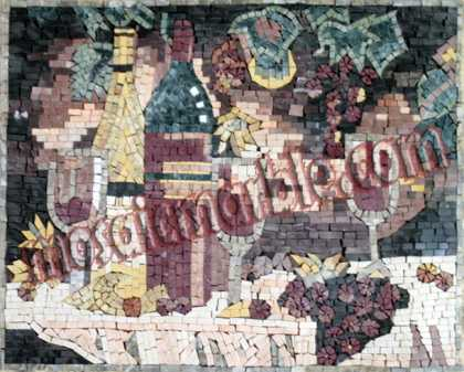 Artistic Grapes & Wine Still Life Backsplash Mosaic