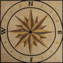 "GEO843  35""x35"" Nautical Compass Sea Navigation Marble Mosaic"