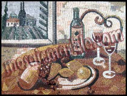 Fruits & Wine Still Life Kitchen Art Mosaic