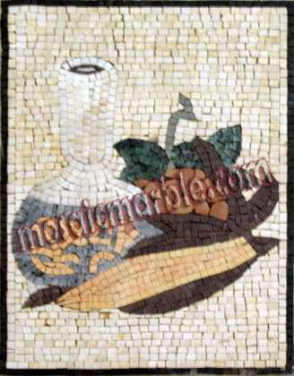 Grapes Corn & Jug Vertical Kitchen Backsplash Mosaic