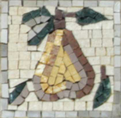 Large Yellow Pear with Leaves Backsplash Mosaic