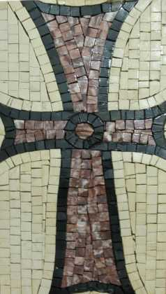 Red Byzantine Cross on White  Mosaic