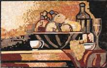 KB42 Still Life Fruit Basket Kitchen Marble Mosaic