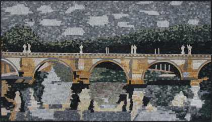 LS11 River Bridge with Green Mountains  Mosaic