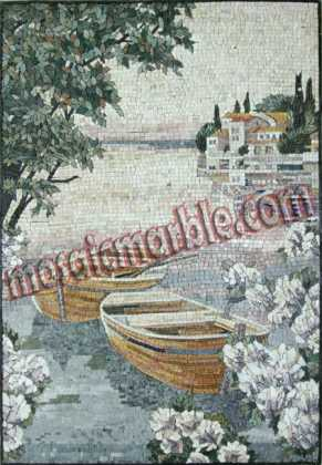 LS16 Beautiful boats by the sea natural scene Mosaic