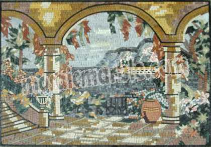 LS28 Artistic natural scene mosaic marble