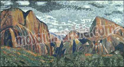 LS39 Majestic mountain scene mosaic marble