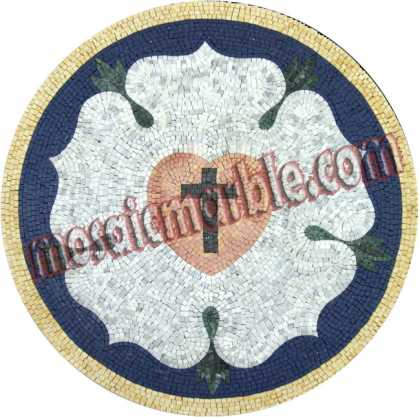 MD1000 Cross and heart in flower shape Mosaic