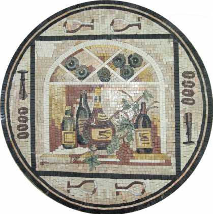Grapes & Wine Arched Window Wall Medallion Mosaic