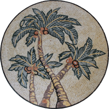 Marble Medallion Palm Trees Wall or Floor Mosaic