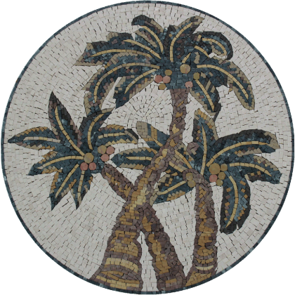 Hawaiian Palm Trees Round Medallion Mural Mosaic