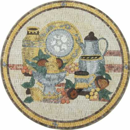 Kitchen Fruit Bowl Wall Medallion  Mosaic