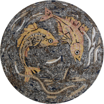 Floor Medallion Fish Swimming Deep Sea Mosaic