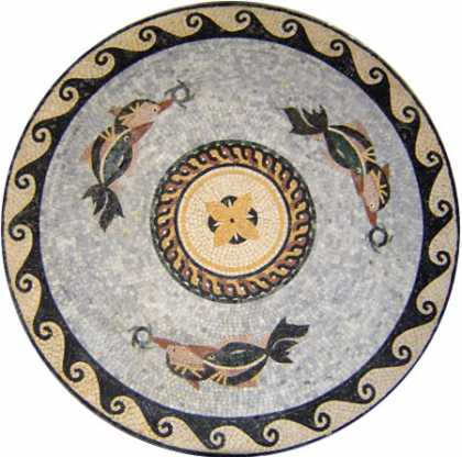 Elegant Marble Medallion of Swimming Dolphin  Mosaic