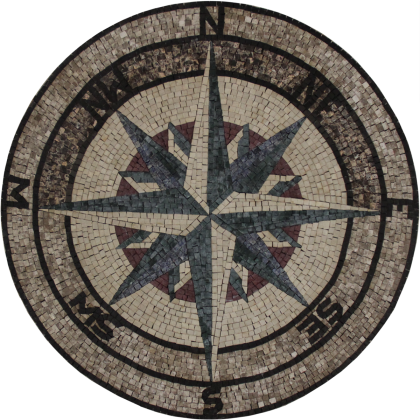 Nautical compass handcut tile stone  Mosaic