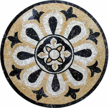 MD192 black gold & white elegant mosaic art