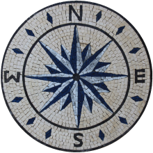 Compass Blue Star Round Medallion
