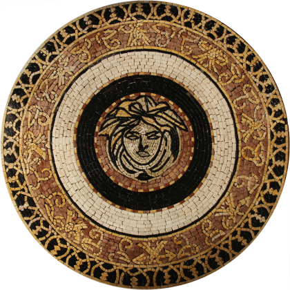 Centered medusa face round decorative  Mosaic