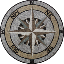 Floor Medallion Nautical Earth Colors Compass  Mosaic
