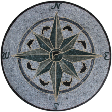 Floor Medallion Green & Grey Dolphin Compass Mosaic