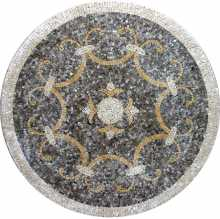 MD204 elegant grey and gold mosaic art