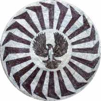 Black & White Marble Medallion Central Eagle Mosaic