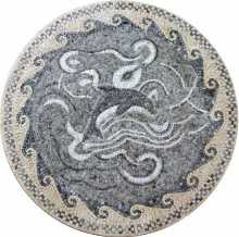 MD284 Grey dolphin and waves medallion mosaic