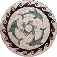 MD285 dolphin trio marble mosaic