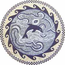 MD308 blue dolphin and waves medallion mosaic