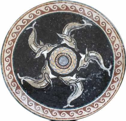 Marble Medallion Dolphins Swimming in Circle Mosaic