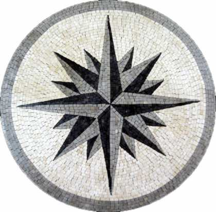 MD385 Black & grey compass star Mosaic
