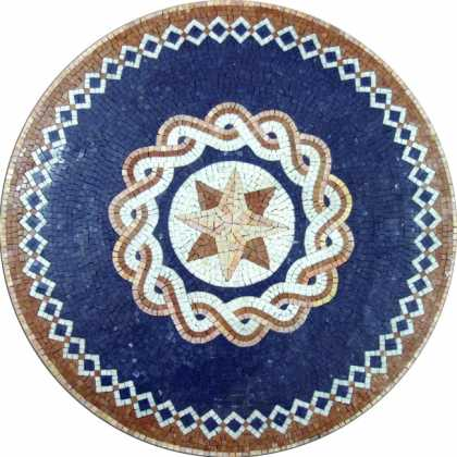 MD398 Ocean Blue Medallion Compass Star  Mosaic