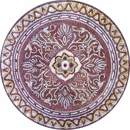 MD402 White and burgundy flower arabesque Mosaic