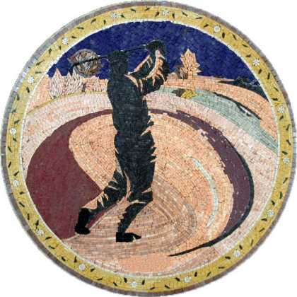 Golf Player Blue Sky Mosaic