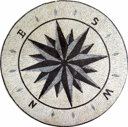 MD452 black & grey compass nautical star Mosaic