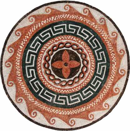 MD459 Red & black medallion art Mosaic