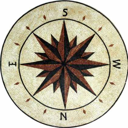 MD482 brick & black compass nautical star Mosaic
