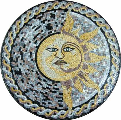 MD486 Illustrated sun face on dotted background