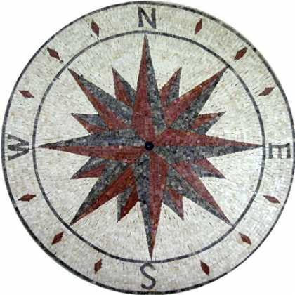 MD501 brick & grey compass nautical star Mosaic