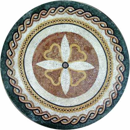 MD504 Medallion with Central Flower Mosaic