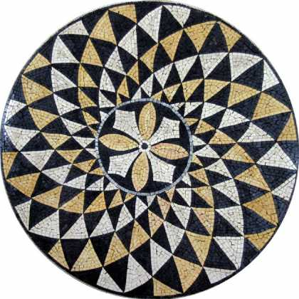 MD510 Black & Gold elegant fan design Mosaic